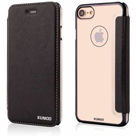 "Xundd Xundd iPhone 8 / 7 ( 4.7 "")Folio Flip PU Leather Hoesje + Pasje & Hard Transparant Back Cover Zwart"