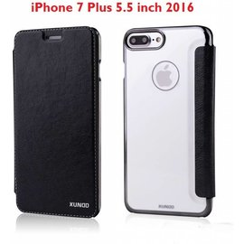 Xundd Xundd iPhone 8 Plus/7 Plus Folio Flip PU Leather Hoesje + Pasje & Hard Transparant Back Cover Zwart