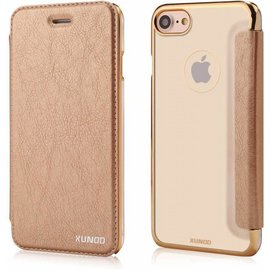 Xundd Xundd iPhone 8 / iPhone 7 ( 4.7 inch ) Champagne Goud Slim Crystal Folio Flip Hoesje Book Case