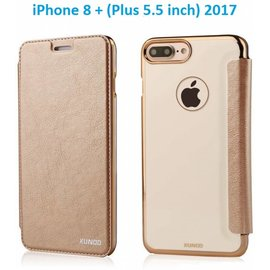 Xundd Xundd iPhone 8+ ( Plus ) / iPhone 7+ ( Plus ) 5.5 inch Champagne Goud Slim Crystal Folio Flip Hoesje Book Case