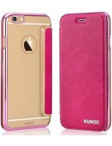 Xundd Xundd iPhone SE / 5 / 5S Folio Flip PU Leather hoesje met hard transparant backcover Pink