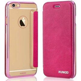 Xundd Xundd iPhone SE / 5 / 5S  Folio Flip PU Leather hoesje met hard transparant back cover Pink
