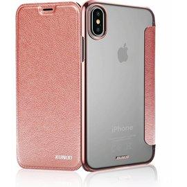 Xundd Xundd iPhone X / Xs Roze Goud Slim Crystal Folio Flip Hoesje Book Case