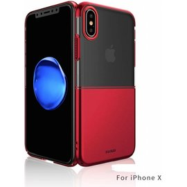 Xundd Xundd iPhone X / Xs Luxe Half Transparant Clear PC + Plating Hard Hoesje Rood