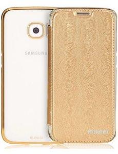 Xundd Xundd Samsung Galaxy S6 Edge Plus Hard Transparant TPU Back Case Met Flip Hoesje Champagne Goud