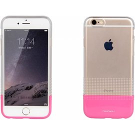 Nouku iPhone 6 / 6S ( 4,7 inch ) TPU Transparant Back Case Cover Hoesje Pink + Screenprotector