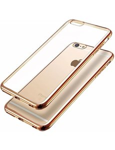 OU case iPhone 6 / 6S ( 4,7 ) Transparant Ou Case / Scratch Proof TPU Case Cover Hoesje Met Frame Champagne Goud