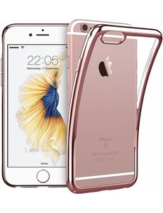 OU case iPhone 6 / 6S ( 4,7 ) Transparant Ou Case / Scratch Proof TPU Case Cover Hoesje Met Frame Rose Goud