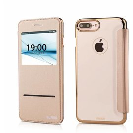Xundd iPhone 8 / iPhone 7 (4.7 inch) Window View Peik Series Folio Flip Hoesje Champagne Goud