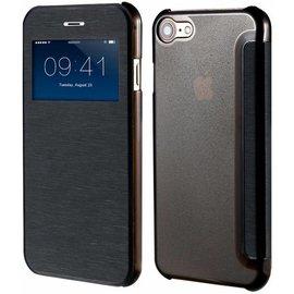 Merkloos iPhone 8 / iPhone 7 ( 4.7 inch ) hoesje Window View Folio Brushed Hard Shell Clear Back Zwart