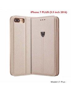 Xundd iPhone 8 Plus / iPhone 7 Plus Wallet Boektype Leer Hoesje Noble Series Met Stand Champagne Goud
