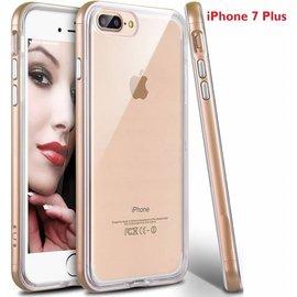 Merkloos iPhone 8 Plus / iPhone 7 Plus 5.5 inch TPU Transparant Back Case Hoesje Met Bumper Champagne Goud