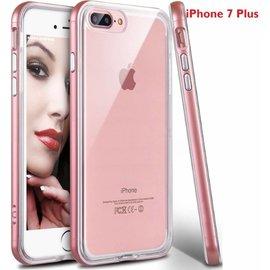 Merkloos iPhone 8 Plus / iPhone 7 Plus 5.5 inch TPU Transparant back Case  Hoesje Met Bumper Rose Goud