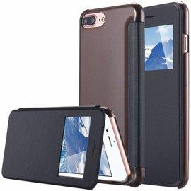Merkloos iPhone 8 Plus / iPhone 7 Plus hoesje Window View Folio Brushed Hard Shell Clear Back Zwart