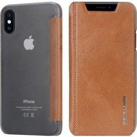 Pierre Cardin iPhone X / Xs Semi-Transparant Hoesje Pierre Cardin Bruin Leer