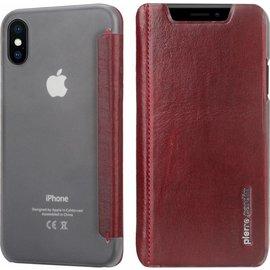 Pierre Cardin iPhone X / Xs Flip Hoesje Pierre Cardin Rood Leer