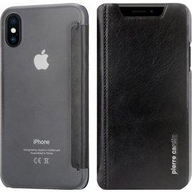 Pierre Cardin iPhone X / Xs Semi-Transparant Hoesje Pierre Cardin Zwart Leer