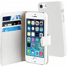 Muvit Muvit iPhone SE / 5 / 5S Magnetic Wallet Stand Case Met 3 Kaartsloten Wit