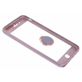 Xundd Xundd iPhone 8+ / 7+ Hard Transparant Hoesje Magnetic auto/ring houder+tempered Glass Rose Goud