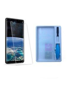 Merkloos Samsung Galaxy Note 9 UV liquid Curved Tempered Glass full cover met UV lampje