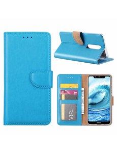 Merkloos Booktype Kunstleer Hoesje Met Pasjesruimte Blauw Nokia 5.1 Plus