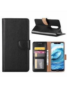 Merkloos Booktype Kunstleer Hoesje Met Pasjesruimte Zwart Nokia 5.1 Plus