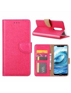 Merkloos Booktype Kunstleer Hoesje Met Pasjesruimte Roze Nokia 5.1 Plus