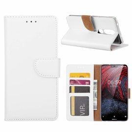 Merkloos Booktype Kunstleer Hoesje Met Pasjesruimte Wit Nokia 6.1 Plus