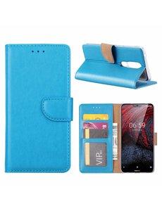 Merkloos Booktype Kunstleer Hoesje Met Pasjesruimte Blauw Nokia 6.1 Plus
