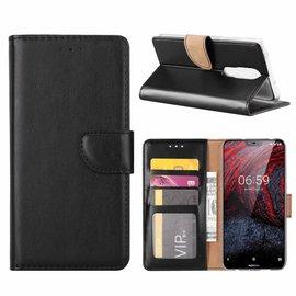 Merkloos Booktype Kunstleer Hoesje Met Pasjesruimte Zwart Nokia 6.1 Plus