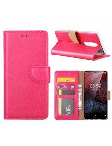 Merkloos Booktype Kunstleer Hoesje Met Pasjesruimte Roze Nokia 6.1 Plus