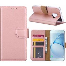 Merkloos Samsung Galaxy A6 (2018) case Rose Goud Portemonnee hoes met opbergvakjes