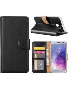 Merkloos Samsung Galaxy J4 (2018) case Zwart Portemonnee hoesje met opbergvakjes