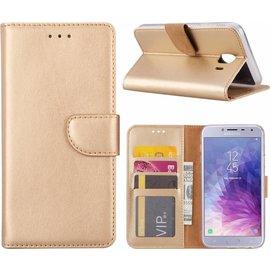 Merkloos Samsung Galaxy J4 (2018) case Goud Portemonnee hoesje met opbergvakjes
