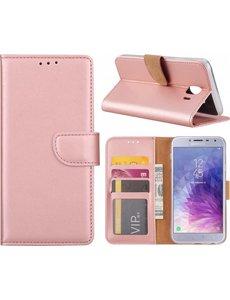 Merkloos Samsung Galaxy J4 (2018) case Rose Goud Portemonnee hoesje met opbergvakjes