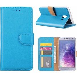 Merkloos Samsung Galaxy J4 (2018) case Blauw Portemonnee hoesje met opbergvakjes