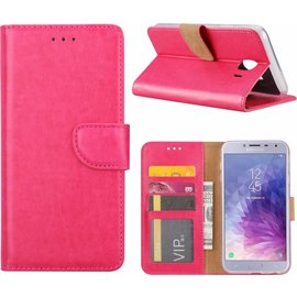 Merkloos Samsung Galaxy J4 (2018) case Roze Portemonnee hoesje met opbergvakjes
