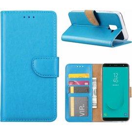 Merkloos Samsung Galaxy J6 (2018) case Blauw Portemonnee hoesje met opbergvakjes