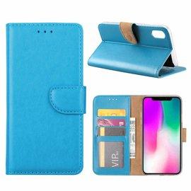Ntech Ntech iPhone Xr Blauw Booktype / Portemonnee TPU Lederen Hoesje