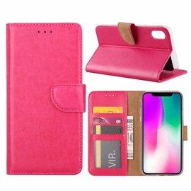 Ntech Ntech iPhone Xr Roze Booktype / Portemonnee TPU Lederen Hoesje