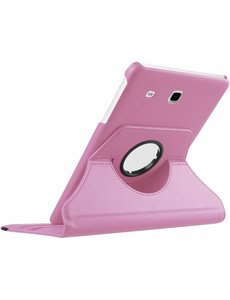 Merkloos Samsung Galaxy Tab E 9.6 inch SM - T560 / T561 Tablet Case met 360? draaistand cover hoesje - Licht Roze