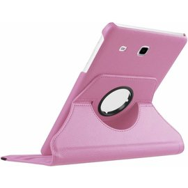 Merkloos Samsung Galaxy Tab E 9.6 inch SM - T560 / T561 Tablet Case met 360ᄚ draaistand cover hoes kleur Licht Roze