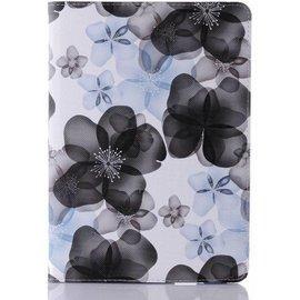 Merkloos iPad Air 2  Flip Sweet Flower hoes /  Luxury 360 draaibaar case Multi stand Zwart