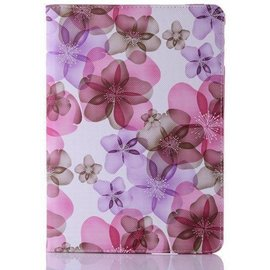 Merkloos iPad Air 2 Flip Sweet Flower hoes /  Luxury 360 draaibaar case Multi stand Pink