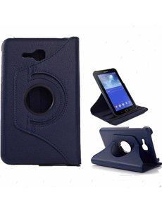 Merkloos Samsung Galaxy Tab 3 - Lite 7.0 inch (T110 / T111 / T113) Tablet Case hoesje 360 Draaibaar - Donker Blauw