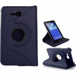 Merkloos Samsung Galaxy Tab 3 - Lite 7.0 inch (T110 / T111 / T113) Tablet Case Hoes cover 360 graden draaibaar kleur Donker Blauw