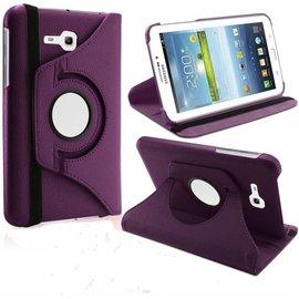 Merkloos Samsung Galaxy Tab 3 - Lite 7.0 inch (T110 / T111 / T113) Tablet Case Hoes cover 360 graden draaibaar kleur Paars