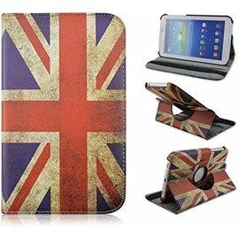 Merkloos Samsung Galaxy Tab 3 - Lite 7.0 inch (T110 / T111 / T113) Tablet Case Hoes cover 360 graden draaibaar kleur UK Flag