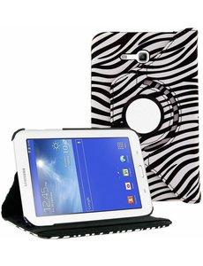 Merkloos Samsung Galaxy Tab 3 - Lite 7.0 inch (T110 / T111 / T113) Tablet Case hoesje 360 Draaibaar - Zebra