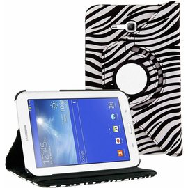 Merkloos Samsung Galaxy Tab 3 - Lite 7.0 inch (T110 / T111 / T113) Tablet Case Hoes cover 360 graden draaibaar kleur Zebra